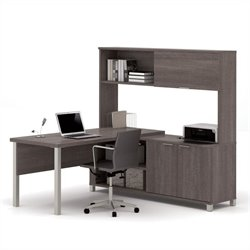 Bestar Pro-Linea L-Desk with Hutch in Bark Grey