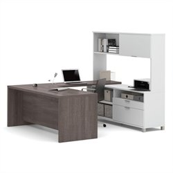 Bestar Pro-Linea U-Desk with Hutch in White and Bark Grey