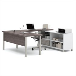 Bestar Pro-Linea U-Desk in White and Bark Grey