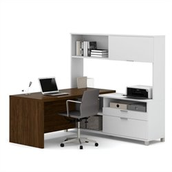 Bestar Pro-Linea L-Desk with Hutch in White and Oak Barrel