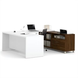 Bestar Pro-Linea U-Desk in Oak Barrel and White