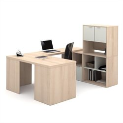 Bestar i3 U-Shaped Desk in Northern Maple and Sandstone