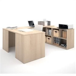 Bestar i3 U-Shaped Desk in Northern Maple