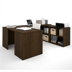 Bestar i3 U-Shaped Desk in Tuxedo