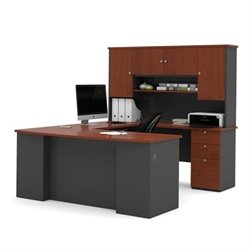 Bestar Manhattan U Shape Workstation in Bordeaux and Graphite