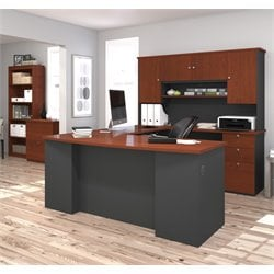 Bestar Manhattan 3 Piece U Shape Office Set in Bordeaux and Graphite