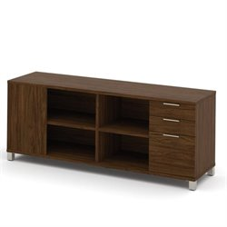 Bestar Pro Linea Credenza with Three Drawers in Oak Barrel
