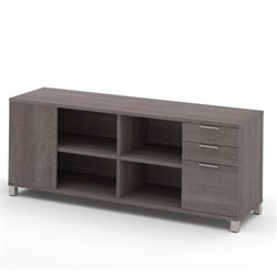 Bestar Pro Linea Credenza with Three Drawers in Bark Grey