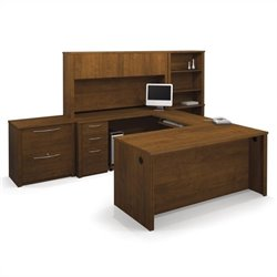 Bestar Embassy U-Shape Wood Office Set with Hutch in Tuscany Brown
