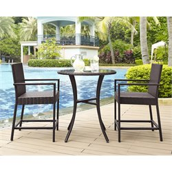 Crosley Palm Harbor 3 Piece Wicker Patio Bistro Set