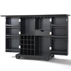 Crosley Furniture Alexandria Expandable Home Bar Cabinet in Black Finish