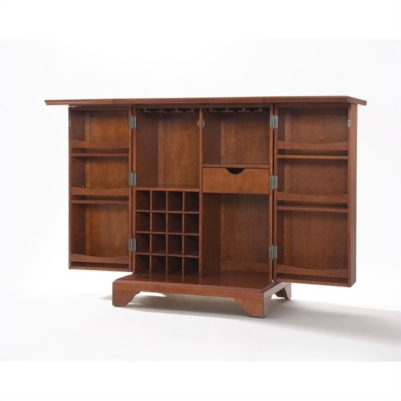 Crosley Furniture Lafayette Expandable Home Bar Cabinet In Classic Cherry Finish Kf40001bch
