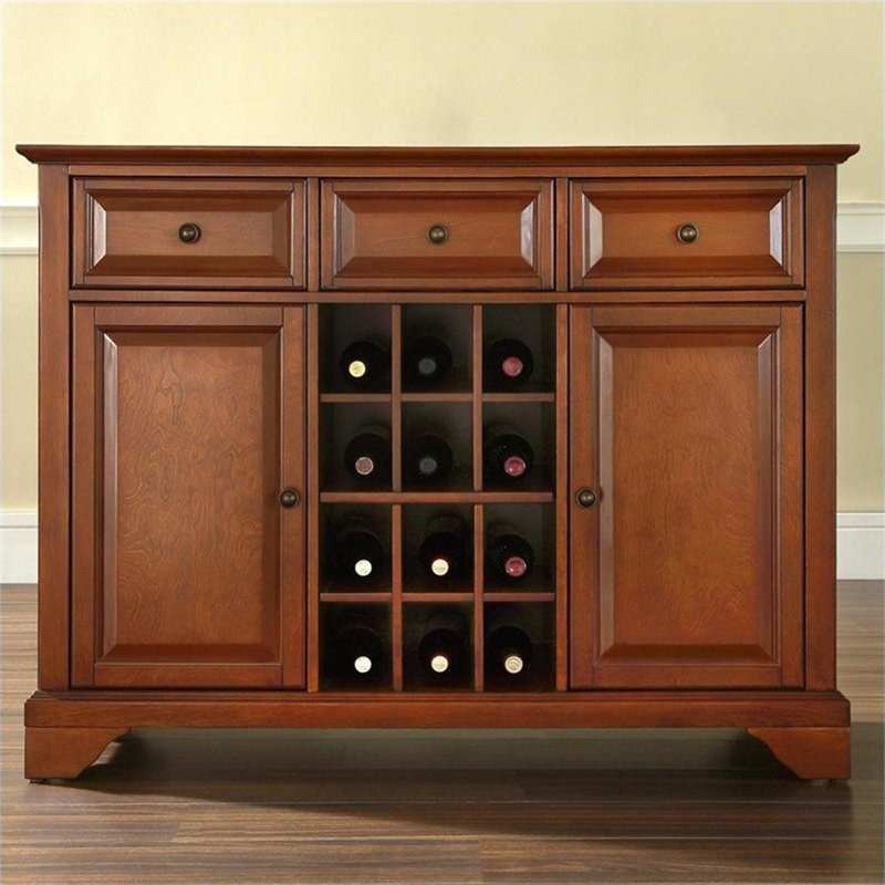 Crosley Furniture Lafayette Buffet Server Sideboard Cabinet In Classic Cherry Kf42001bch