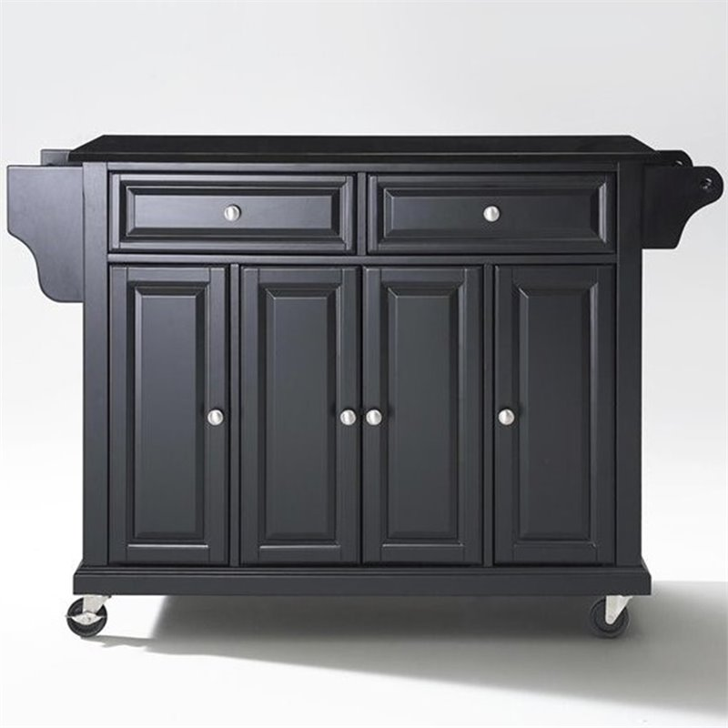 Crosley Furniture Solid Black Granite Top Kitchen Cart in Black Finish