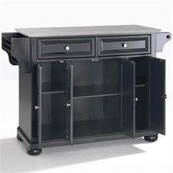 Crosley Furniture Alexandria Stainless Steel Top Kitchen Island in Black Finish