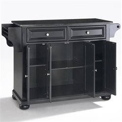 Crosley Furniture Alexandria Solid Black Granite Top Kitchen Island in Black Finish