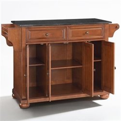 Crosley Furniture Alexandria Solid Black Granite Top Kitchen Island in Classic Cherry Finish