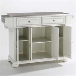 Crosley Alexandria Stainless Steel Top Kitchen Island in White