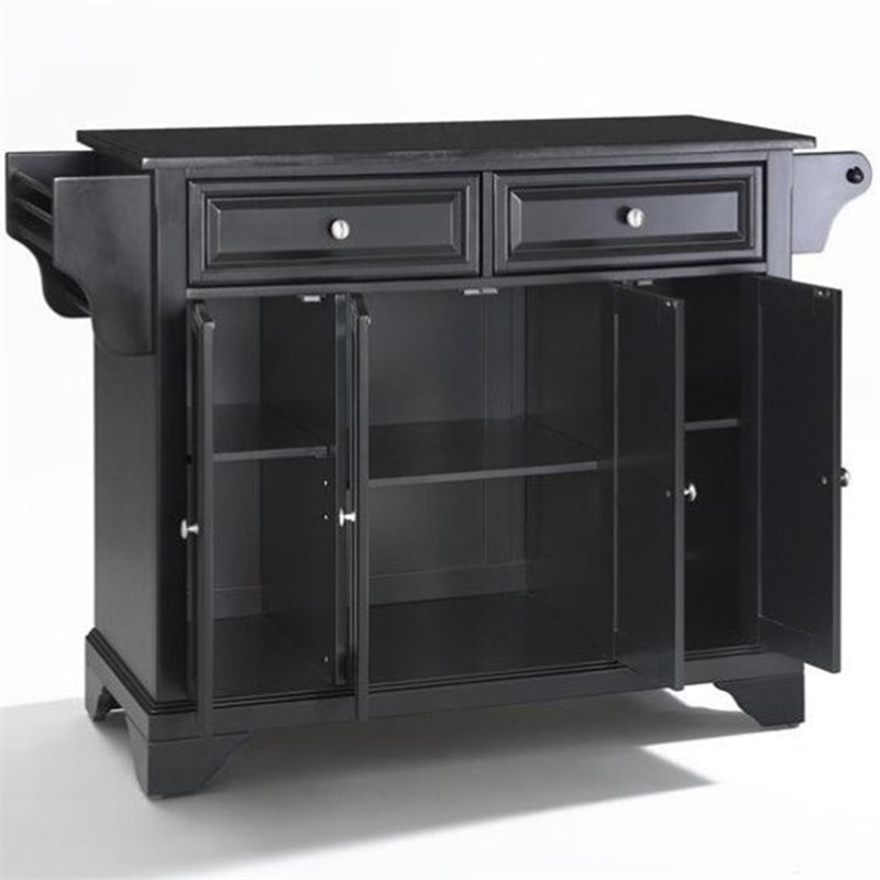 Crosley Furniture LaFayette Solid Black Granite Top Kitchen Island in Black Finish