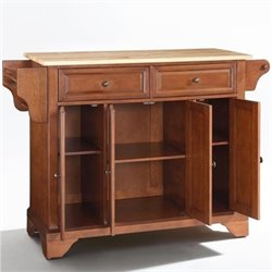 Crosley Furniture LaFayette Natural Wood Top Kitchen Island in Classic Cherry Finish