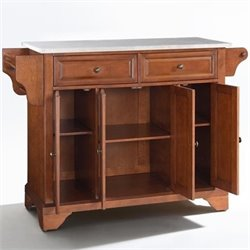 Crosley Furniture LaFayette Stainless Steel Top Kitchen Island in Classic Cherry Finish
