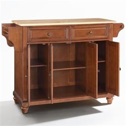 Crosley Furniture Cambridge Natural Wood Top Kitchen Island in Classic Cherry Finish
