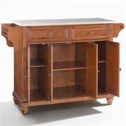 Crosley Furniture Cambridge Stainless Steel Top Kitchen Island in Classic Cherry Finish
