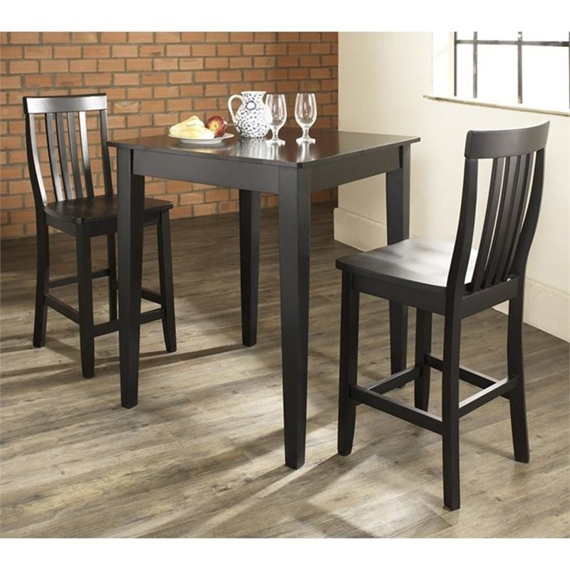 Crosley Furniture 3 Piece Pub Set with School House Stools in Black