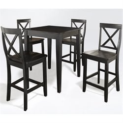 Crosley Furniture 5 Piece Pub Dining Set with Tapered Leg and X-Back Stools in Black Finish