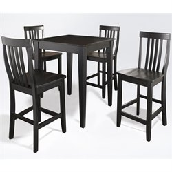Crosley Furniture 5 Piece Pub Set with School House Stools in Black