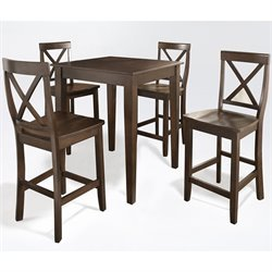 Crosley Furniture 5 Piece Pub Set with X-Back Stools in Vintage Mahogany
