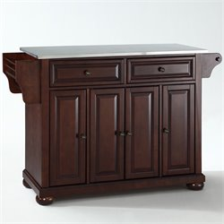 Crosley Furniture Alexandria Stainless Steel Top Mahogany Kitchen Island