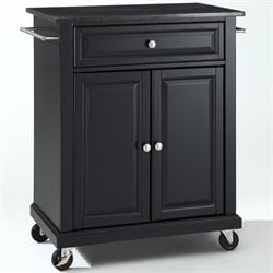 Crosley Furniture Solid Black Granite Top Kitchen Cart in Black