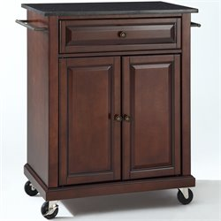 Crosley Furniture Solid Black Granite Top Mahogany Kitchen Cart