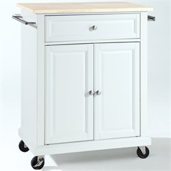 Crosley Furniture Natural Wood Top Kitchen Cart in White