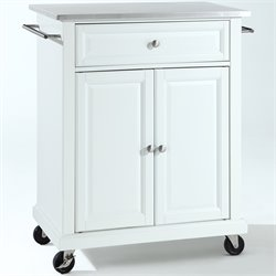 Crosley Furniture Stainless Steel Top Kitchen Cart in White