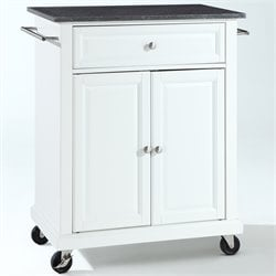 Crosley Furniture Solid Black Granite Top Kitchen Cart in White
