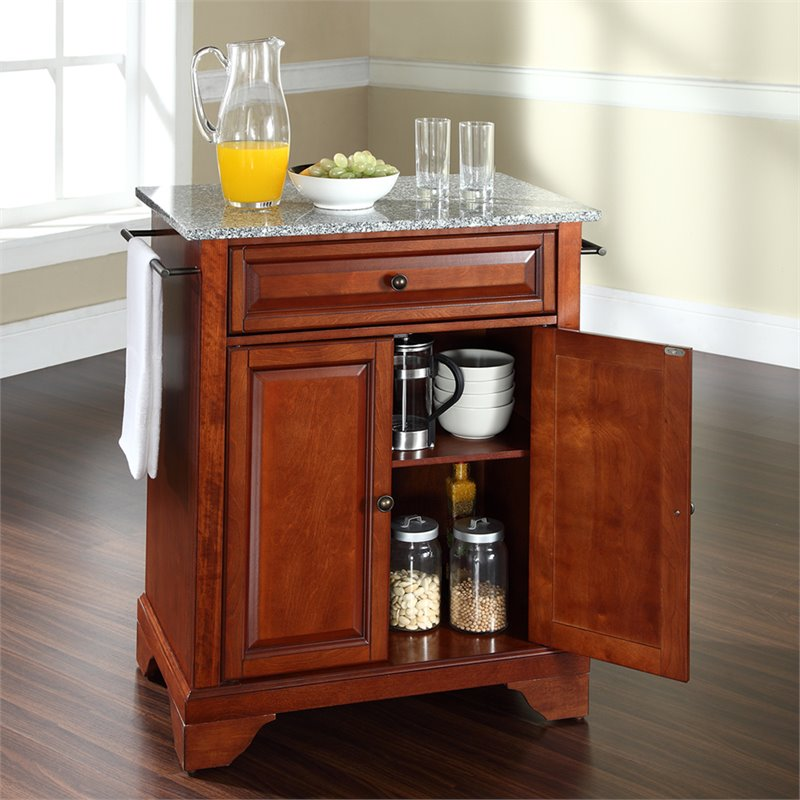 Crosley Furniture LaFayette Solid Granite Top Kitchen Island in Cherry