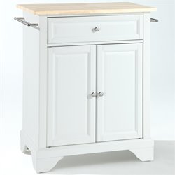 Crosley Furniture LaFayette Natural Wood Top Kitchen Island in White
