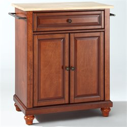 Crosley Furniture Cambridge Natural Wood Top Kitchen Island in Cherry