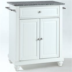 Crosley Furniture Cambridge Solid Granite Top Kitchen Island in White