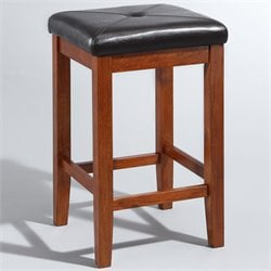 Upholstered Backless Square Bar Stool in Classic Cherry