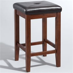 Upholstered Backless Square Bar Stool in Vintage Mahogany