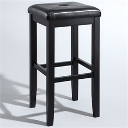 Upholstered Square Bar Stool in Black