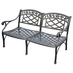 Crosley Furniture Sedona Cast Aluminum Loveseat in Charcoal Black