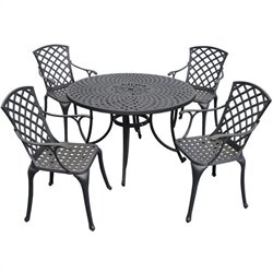 Crosley Furniture Sedona 5 Piece Metal Patio Dining Set in Black