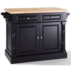 Crosley Oxford Kitchen Island Butcher Block in Black