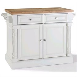 Crosley Oxford Kitchen Island Butcher Block in White