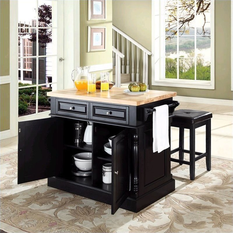 crosley oxford butcher block top kitchen island with