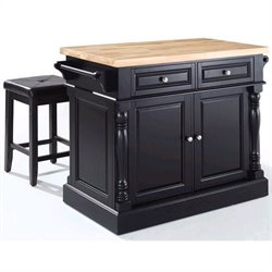 Crosley Oxford Butcher Block Top Kitchen Island with Stools in Black